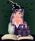 Back to Witch School. Cute little witch and book castle, halloween vector illustration — Stock Vector