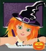 Back to Witch School. Cute little witch studying at the library. vector illustration — Stock Vector