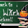 Back to Witch School. Greeting card, vector illustration — Stock Vector #53245265