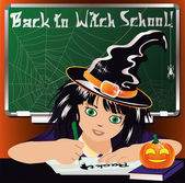 Back to Witch School. Cute little witch studying. vector illustration — Stock Vector