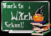 Back to Witch School. Greeting card, vector illustration — Stock Vector