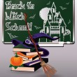 Back to Witch School. Greeting card with books, vector illustration — Stock Vector #53333053