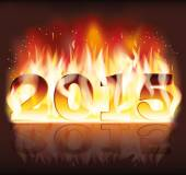 Happy New 2015 fire flame year, vector illustration — Stockvector