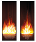 Fire flame banners. vector illustration — Stock Vector