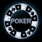 Precious brilliant poker chip, vector illustration — Stock Vector