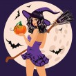 Happy Halloween. Sexy witch with pumpkin and moon, vector illustration — Stock Vector #54749823