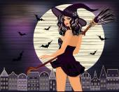 Happy Halloween. Sexy young witch with and night city, vector illustration — Stock Vector
