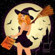 Halloween sale. Sexual shopping witch and castle, vector illustration — Stock Vector #54881041