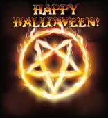 Fire happy halloween pentagram, vector illustration — Stock Vector