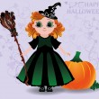 Happy Halloween. Cute little witch and pumpkin background, vector illustration — Stock Vector #55154583