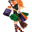 Halloween sale. Sexy redhair witch with shopping bags, vector illustration — Stock Vector #55154639