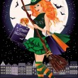 Halloween sale. Urban redhair witch with shopping bags, vector illustration — Stock Vector #55154719