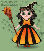 Happy Halloween. Little girl witch postcard, vector illustration — Stock Vector