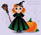 Happy Halloween. Cute little witch and pumpkin background, vector illustration — Stock Vector