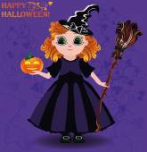 Happy Halloween. Little girl witch and pumpkin card, vector illustration — Stockvektor