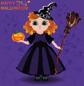 Happy Halloween. Little girl witch and pumpkin card, vector illustration — ストックベクタ
