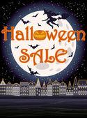 Happy Halloween sale greeting background, vector illustration — Stok Vektör