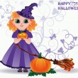Happy Halloween. Cute little witch and pumpkin card. vector illustration — Stock Vector #55582881