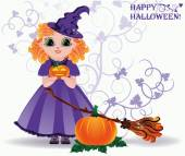 Happy Halloween. Cute little witch and pumpkin card. vector illustration — Stockvector