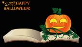 Happy Halloween. Open old book with pumpkin, vector illustration — ストックベクタ