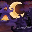 Halloween night wallpaper with haunted house, vector illustration — Stock Vector #55970977