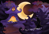 Halloween night wallpaper with haunted house, vector illustration — Vettoriale Stock
