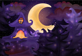 Halloween night background with haunted house, vector illustration — Stockvektor