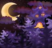 Halloween night wallpaper, vector illustration — Vector de stock
