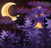 Halloween night wallpaper, vector illustration — Stockvektor