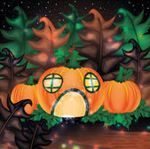 Halloween night background with pumpkin house, vector illustration — ストックベクタ