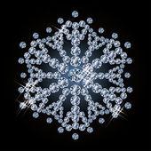 Brilliant diamond snowflake, vector illustration — Vettoriale Stock