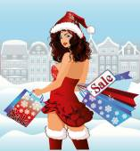 Santa girl shopping city, vector illustration — Stockvector