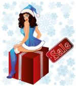Sexy Santa girl and xmas gift, vector illustration — Stockvector
