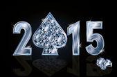 Happy 2015 New year diamond poker spade, vector illustration — Vettoriale Stock