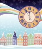 New year and Merry Christmas winter card with clock, vector illustration — Vetor de Stock