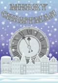 New year and Merry Christmas card with clock and winter city, vector illustration — Stock Vector