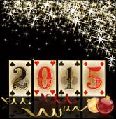 Happy 2015 new year.Christmas casino card, vector illustration — Stockvector