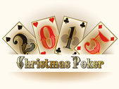 Christmas Poker happy new 2015 year cards, vector illustration — Stock Vector
