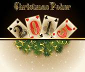 Christmas Poker. Happy 2015 new year. vector illustration — Stock Vector