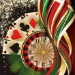 Christmas casino banner with poker cards, vector illustration — Stock Vector #59744891