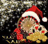 Christmas casino and happy new year card, vector illustration — Stockvektor