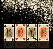 Love poker casino cards, vector illustration — Vetor de Stock