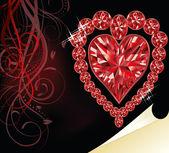 Ruby heart, wedding valentines day, vector illustration — Stock Vector