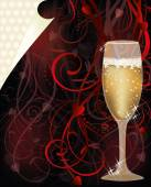 Valentines day love card with champagne, vector illustration — Stockvektor