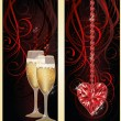 Love banners with champagne and ruby heart, vector illustration — Vecteur #62178623