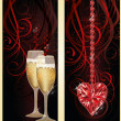 Love banners with champagne and ruby heart, vector illustration — ストックベクタ #62178623