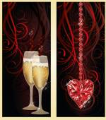 Love banners with champagne and ruby heart, vector illustration — Stock Vector