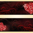 Love banners with two ruby hearts, vector illustration — ストックベクタ #62181893