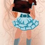 Valentines day love girl, vector illustration — Stock Vector #62330519