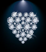 Love diamond heart, valentines day card, vector illustration — Stock Vector